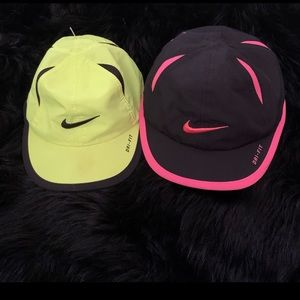 Kids Nike Dri Fit Caps (Neon Green and Pink)